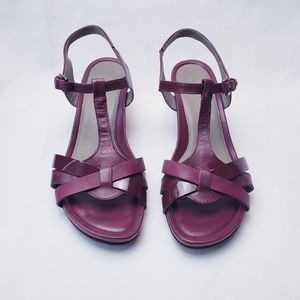 ECCO Ankle T-Strap Low Wedge Sandals